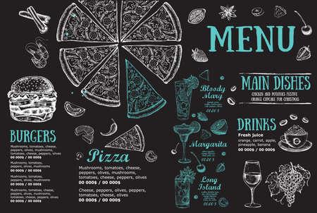 Illustration pour Restaurant brochure, menu design. Food flyer. Vector. - image libre de droit