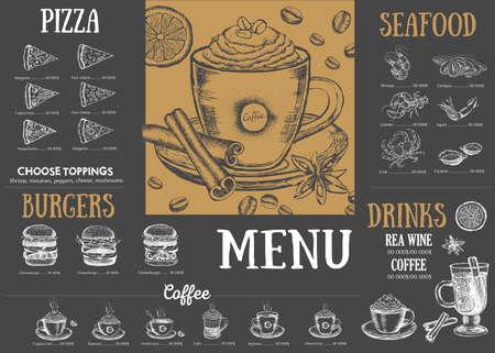 Illustration pour Restaurant cafe menu, template design. Food flyer. - image libre de droit