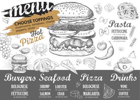Ilustración de Restaurant cafe menu, template design. Food flyer. - Imagen libre de derechos