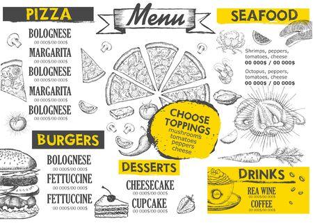 Illustration for Restaurant cafe menu, template design. Food flyer. - Royalty Free Image