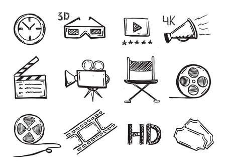 Illustration pour Cinema decorative symbols set, vector hand drawn. - image libre de droit