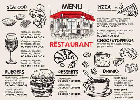 Illustration pour Restaurant menu design. Food flyer. Hand-drawn style. Vector illustration. - image libre de droit