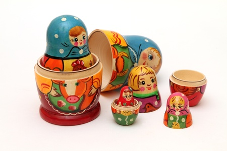 Photo pour colored matryoshka dolls isolated on white background - image libre de droit