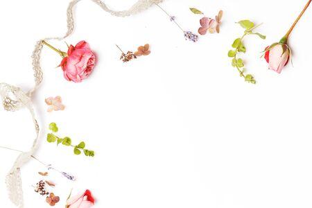 Photo pour Festive flower composition on the white background. Overhead view - image libre de droit