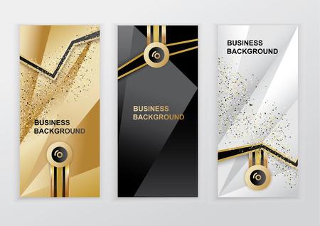 Ilustración de Vertical luxury gold black silver banners. Triangle abstract vector background - Imagen libre de derechos