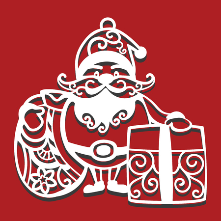 Illustration for Santa Claus holding Christmas bag and gift for laser cutting. New Year card. - Royalty Free Image