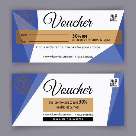 Illustration pour Gift voucher template with blue triangle design elements. Gift voucher value 100 dollars for department stores, business. Abstract background - image libre de droit