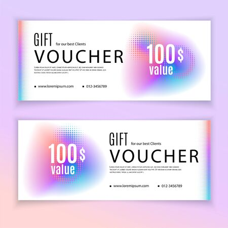 Voucher template multicolored fluid design elements and halftone. Value 100 dollars for department stores, business. Clean design.