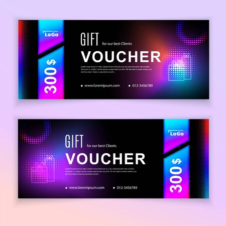Voucher template multicolored fluid design elements and halftone. Value 100 dollars for department stores, business. Black neon vibrant template.