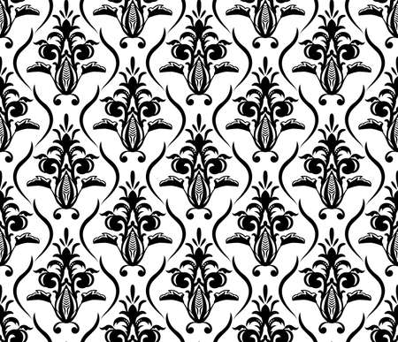 Illustration pour Vintage seamless seamless pattern. As Damask baroque style . Black and white floral element. Graphic ornate background for wallpaper, fabric - image libre de droit