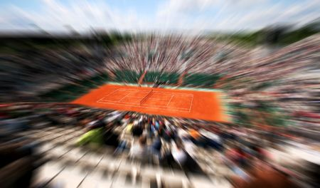 Sports tennis arena with public in a dynamic motion