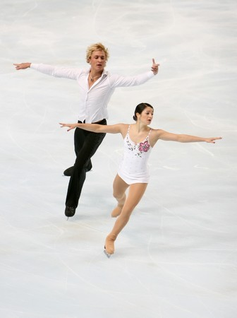 France's Adeline CANAC / Maximin COIA during the pairs short program event of Eric Bompard trophy, the fourth in the six-leg ISU Grand Prix figure skating series at Paris-Bercy, France, 14 November 2008. This is pair's free program as of season 2008/2009.