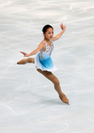 American figure skater Caroline ZHANG during the Ladies short skating event of the Eric Bompard Figure Skating trophy on November 14, 2008 at the Palais-Omnisports de Paris-Bercy, France. This is Caroline's short program as of season 2008/2009.