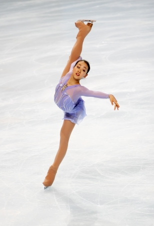 Japanese figure skater Mao Asada during the Ladies short skating event of the Eric Bompard Figure Skating trophy on November 14, 2008 at the Palais-Omnisports de Paris-Bercy, France. This is Mao's short program as of season 2008/2009.