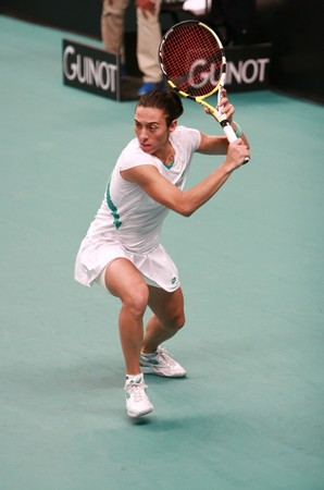 PARIS - FEBRUARY 11: Italy's tennis player Francesca Schiavone hits backhand at Open GDF SUEZ WTA tournament, Pierre de Coubertin stadium on February 11, 2009 in Paris, France.
