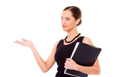 beautiful young confident business woman making presentation isolated