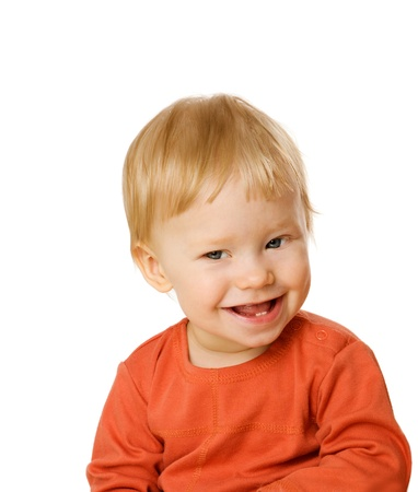 Photo pour Happy Boy in one year age looking straight isolated on white - image libre de droit