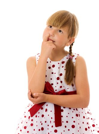 Seven years girl picking her nose isolated on white