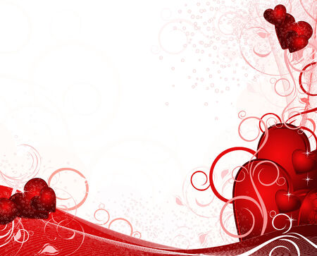 Illustration for White valentines background with hearts, pattern, ornament and stars - Royalty Free Image