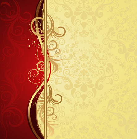 Illustration for Illustration with decorative seamless royal ornament and floral wave - Royalty Free Image