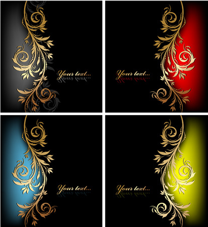 Illustration for decorative colorful design backgrounds with floral wave - Royalty Free Image