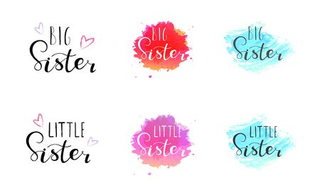 Illustration for Little big sister. Lettering for babies clothes, t-shirts and nursery decorations (bags, posters, invitations, cards, pillows). Brush calligraphy isolated on white background. - Royalty Free Image