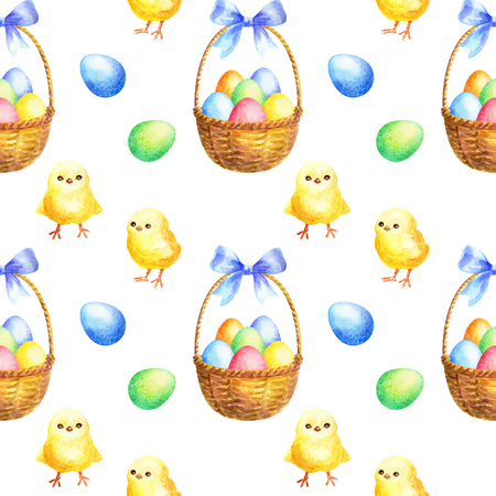 Photo for Easter seamless pattern with hand drawn cute chickens and colored eggs. Watercolor background. - Royalty Free Image