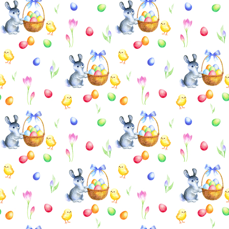 Photo for Easter bunny, chickens and flowers. Watercolor background. - Royalty Free Image