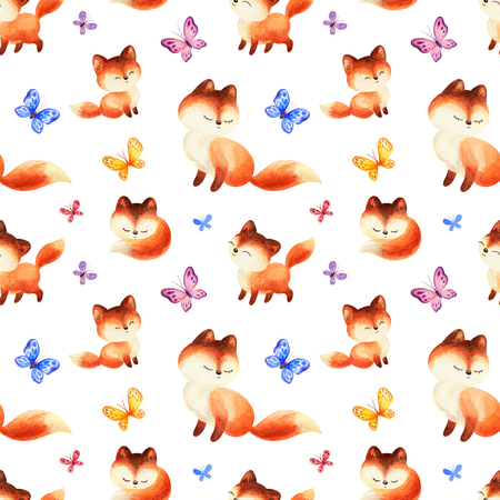 Photo for Childhood seamless pattern with cute red foxes and butterflies. Hand painted watercolor illustrations isolated on a white background. - Royalty Free Image
