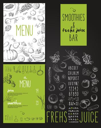 Foto de Smoothie with fruits, vegetables and berries. Smoothies and fresh juices bar menu - Imagen libre de derechos