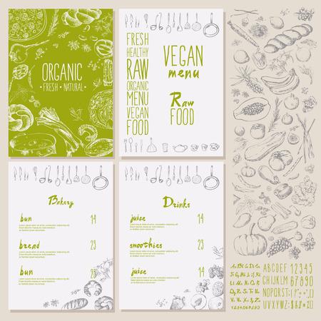 Illustration for Restaurant organic natural vegan Food Menu Vintage Design with blackboard chalk style Vector set - Royalty Free Image