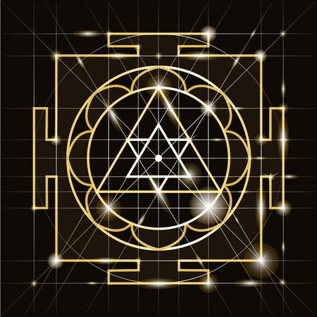 Illustration pour Ganapati Yantra - cosmic conductor of energy. Yantra Sree Ganesha. Sacred Geometry - image libre de droit