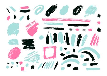 Illustration pour Grunge Brush Stroke . Vector Brush Stroke . Distressed Brush Stroke . Black Brush Stroke . Modern Textured Brush Stroke . Dry Brush Stroke . set - image libre de droit