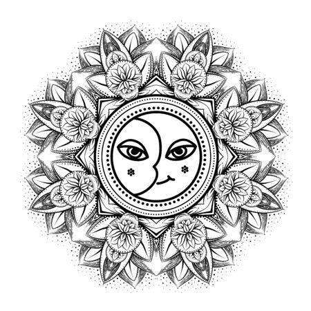Illustration pour vector gold monochrome design abstract mandala sacred geometry illustration sacred sun and moon Merkaba lotus isolated dark brown background - image libre de droit