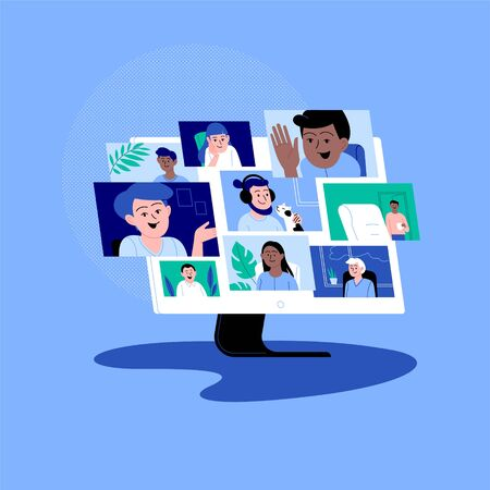 Illustration pour Diverse charactrs participationg in the online conference call. Friends meeting up online. Team working from home via videocall. - image libre de droit