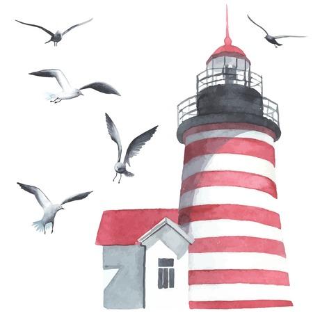 Illustration pour Watercolor lighthouse and seagulls - image libre de droit