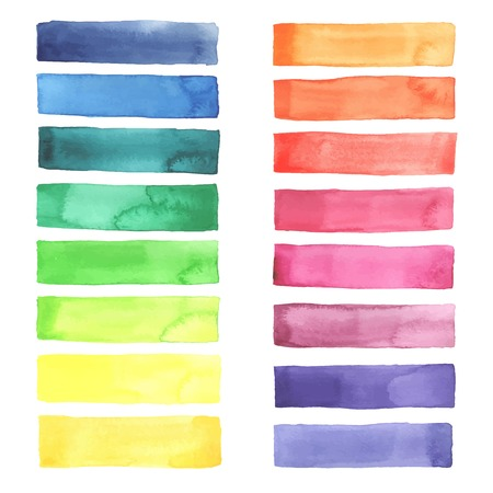 Hand painted Watercolor rainbow stripes made in vector.