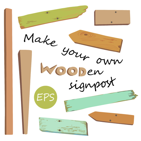 Collection of various empty wooden sign with pins on white background. Make your own wooden singpost. Vector illustration.