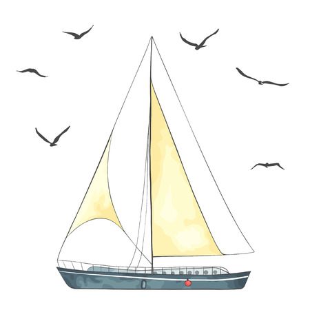 Boat with sails and seagulls made in the isolated on white background. Watercolor imitation. Sport yacht, sailboat.