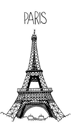 Photo pour Hand drawn Eiffel Tower. Simple sketch style. Black contour isolated on white background. - image libre de droit