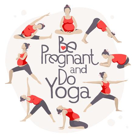 Illustration pour Set of Yoga poses for Pregnant women. Prenatal exercise. - image libre de droit