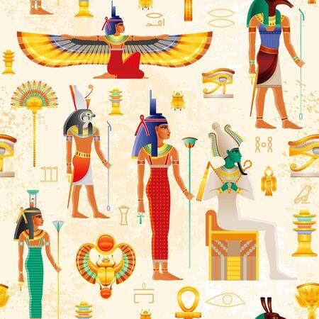 Illustration pour Egyptian vector seamless papyrus pattern with Osiris myth characters - god Osiris, Set, Horus, goddess Isis, Nephthys, pharaoh element - Ankh, Scarab, Tyet, eye Wadjet. Ancient historic art form Egypt - image libre de droit