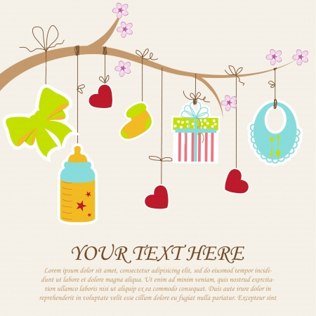 Illustration for Greeting with a baby elements  Vector illustration  - Royalty Free Image