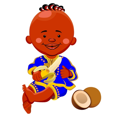 vector of a black boy in national costume and sits holding a banana, coconut is near