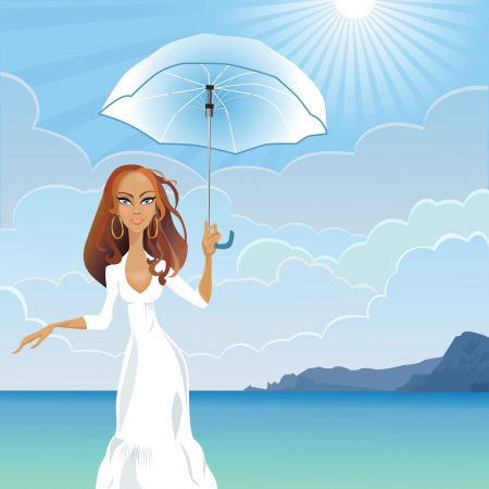beautiful young girl with long dark hair with an umbrella against the sea and the mountains on a sunny day