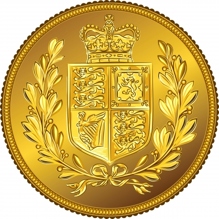 British money gold coin Sovereign with the image of a heraldic shield and crown, isolated on white background