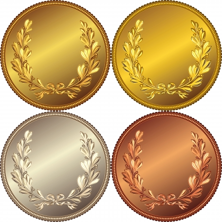 set of the gold, silver and bronze medals with the image of a laurel wreath
