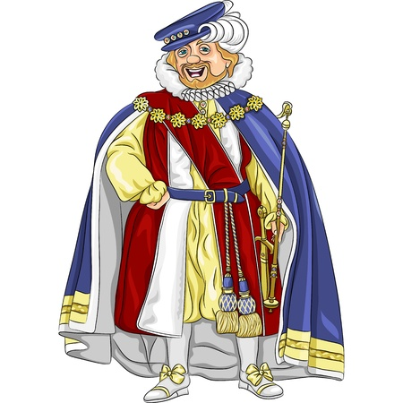 funny fairytale cartoon king in ceremonial robes smiles