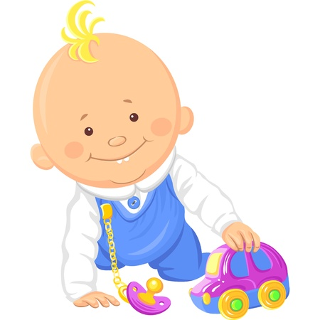 vector Cute smiling baby boy playing with a toy car, crawl on the floor