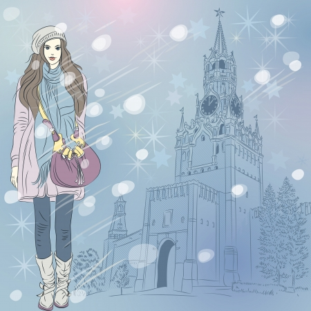 Vector lovely fashion girl in red warm clothes on the Christmas winter cityscape of Moscow Kremlin, Russia